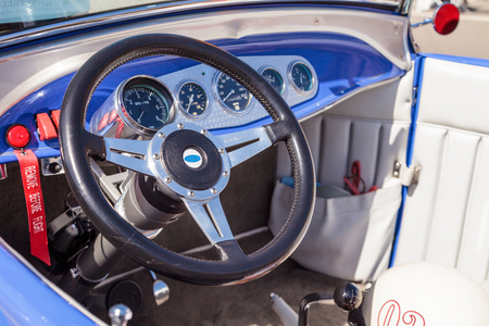 Laguna Beach, CA, USA - October 2, 2016: Black 1964 Factory Five 289 Shelby Cobra owned by Erik Hansen and displayed at the Rotary Club of Laguna Beach 2016 Classic Car Show. Editorial use.