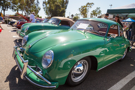 ron: Laguna Beach, CA, USA - October 2, 2016: Green 1958 Porsche 356 owned by Ron Herrin and displayed at the Rotary Club of Laguna Beach 2016 Classic Car Show. Editorial use.