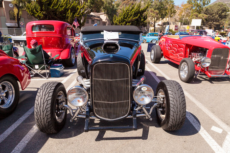 laguna: Laguna Beach, CA, USA - October 2, 2016: Black 1932 Ford B Roadster displayed at the Rotary Club of Laguna Beach 2016 Classic Car Show. Editorial use.