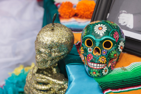Flower and skeleton alter at Dia de los Muertos, Day of the dead, in Los Angeles at the Hollywood Forever Cemetery grounds. Stock Photo
