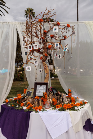 alter: Los Angeles, CA, USA - October 29, 2016: Black Lives Matter alter at Dia de los Muertos, Day of the dead, in Los Angeles at the Hollywood Forever Cemetery grounds. Editorial use only.