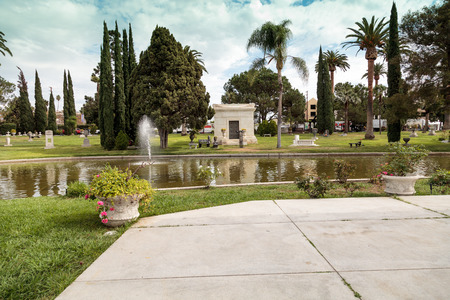 Los Angeles, CA, USA - October 29, 2016: Grounds of the Hollywood Forever Cemeteray during  Dia de los Muertos, Day of the dead, in Los Angeles. Editorial use only. Редакционное