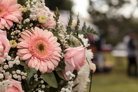 Bouquet of pink roses and pink gerbera daisies in a wedding flower arrangement. Stock Photo