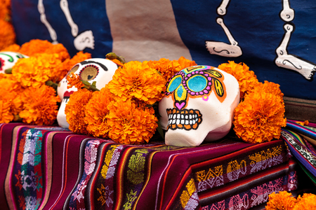alter: Los Angeles, CA, USA - October 29, 2016: Flower and skeleton alter at Dia de los Muertos, Day of the dead, in Los Angeles at the Hollywood Forever Cemetery grounds. Editorial use only.