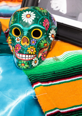 Carved skeleton alter at Dia de los Muertos, Day of the dead.