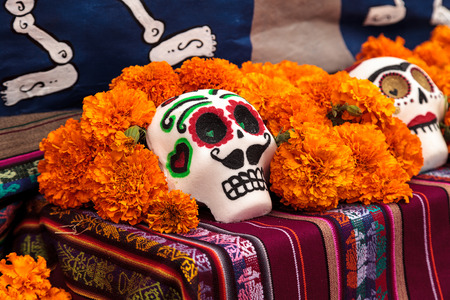 alter: Los Angeles, CA, USA - October 29, 2016: Flower and skeleton alter at Dia de los Muertos, Day of the dead, in Los Angeles at the Hollywood Forever Cemetery grounds. Editorial