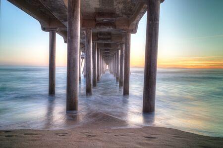 huntington beach: HDR Sunset behind the Huntington Beach pier in Southern California Stock Photo