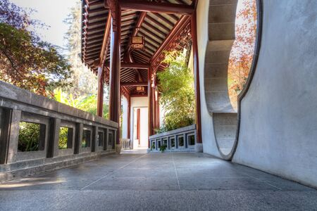 chinese garden: Los Angeles, CA, USA � November 25, 2016: Long hallway path in the Chinese garden at the Huntington Botanical Gardens in Los Angeles, California. Editorial use.