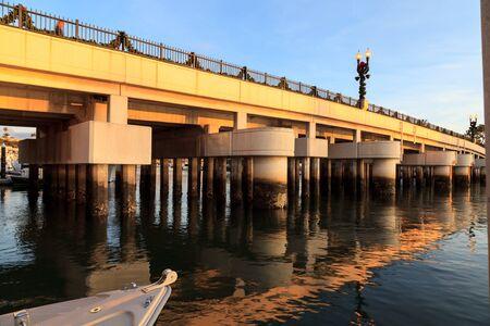 street lamp: Bridge from Jamboree Road onto Balboa Island decorated for Christmas holiday season in Southern California, USA