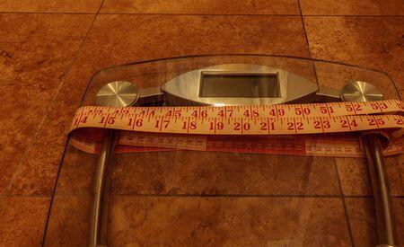 体力を追跡する測定する測定テープの重量を監視するスケール 写真素材 - 70100130
