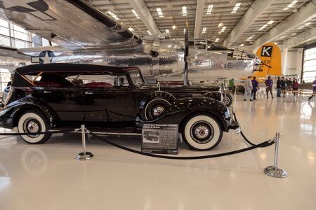 Santa Ana, CA, USA - January 21, 2017: Black 1939 Packard Model 1708 sport Phaeton displayed at the Lyon Air Museum in Santa Ana, California, United States. It was used during World War II. Editorial use only.