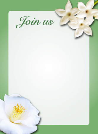 Green and white Camellia flower wedding invitation illustrator template with stephanotis flowers Фото со стока