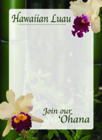 Hawaiian luau invitation illustrator template with orchids and bamboo Фото со стока - 72922680