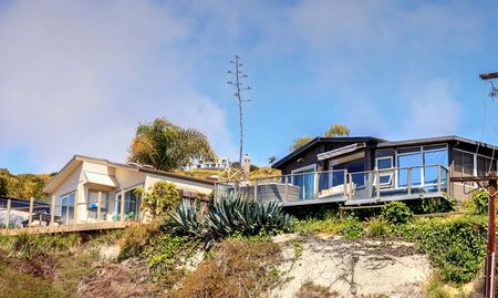 Laguna Beach, California, April 7, 2017: Prefabricated luxury mobile home on a hillside above the coastline of Laguna Beach. Editorial use only. Editorial