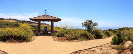 Gazebo over Newport Coast hiking trail near Crystal Cove, California in spring