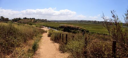 wildlife preserve: Upper Newport Bay Nature Preserve hiking trail winds along the marsh, where you will see wildlife in Newport Beach, California USA