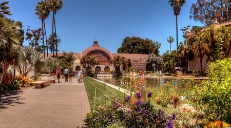 San Diego, CA, USA - May 20, 2017: Beautiful Botanical Garden building with pond in front at the Balboa Park in San Diego. Editorial use.