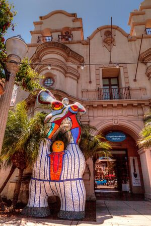 San Diego, CA, USA - May 20, 2017: Mosaic statue in front of the Mingeil International Museum building at the Balboa Park in San Diego. Editorial use.