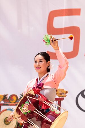 entertainers: San Diego, CA, USA - July 1, 2017: Korean drum dance performed at the San Diego Zoo Safari park. Editorial only. Editorial