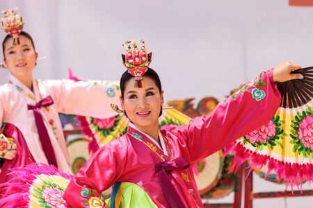 San Diego, CA, USA – July 1, 2017: Korean fan dance performed at the San Diego Zoo Safari park. Editorial only.