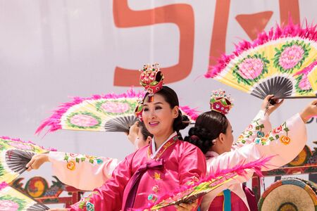 San Diego, CA, USA – July 1, 2017: Korean fan dance performed at the San Diego Zoo Safari park. Editorial only. Editorial