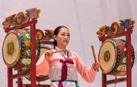San Diego, CA, USA – July 1, 2017: Korean drum dance performed at the San Diego Zoo Safari park. Editorial only. Editorial