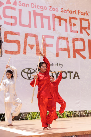 entertainers: San Diego, CA, USA – July 1, 2017: Chinese martial arts demonstration performed at the San Diego Zoo Safari park. Editorial only.