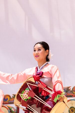 San Diego, CA, USA - July 1, 2017: Korean drum dance performed at the San Diego Zoo Safari park. Editorial only. Editorial