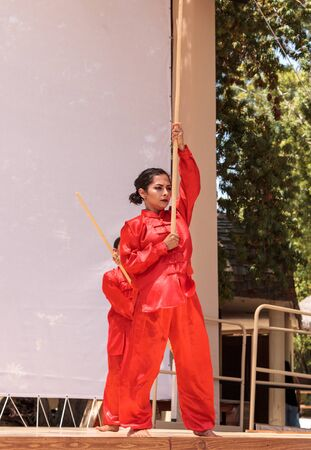 San Diego, CA, USA – July 1, 2017: Chinese martial arts demonstration performed at the San Diego Zoo Safari park. Editorial only.