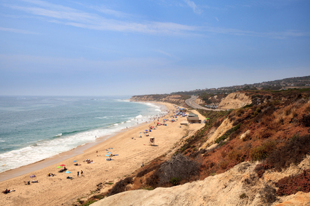 Blue sky over the farthest south end of Crystal Cove beach, Southern California in summer