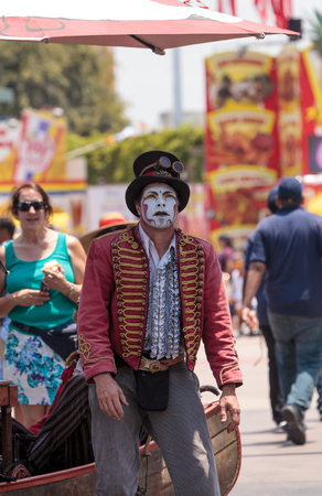 Costa Mesa, CA, USA - July 14, 2017: Dragon Knights steampunk stilt walkers perform at the Orange County Fair in Costa Mesa, CA on July 16, 2016. Editorial use only.