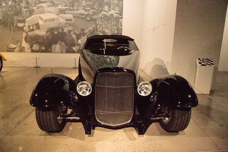 Los Angeles, CA, USA - July 23, 2017: Black 1932 Ford Roadster 0032 displayed at the Petersen Automotive Museum. Editorial use. 에디토리얼