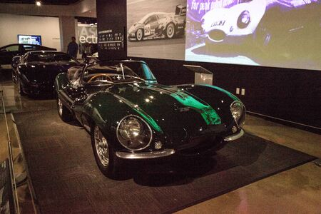 Los Angeles, CA, USA - July 23, 2017: One of only 16 built, this 1956 Jaguar XKSS was owned by Steve McQueen displayed at the Petersen Automotive Museum. Editorial only.