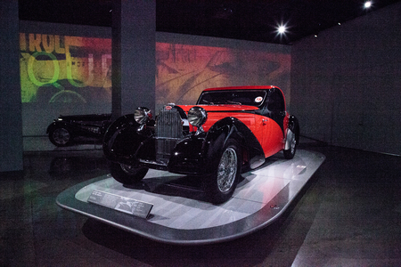 Los Angeles, CA, USA - July 23, 2017: Red and black 1939 Bugatti Type 57C Atalante displayed at the Petersen Automotive Museum. Editorial use.