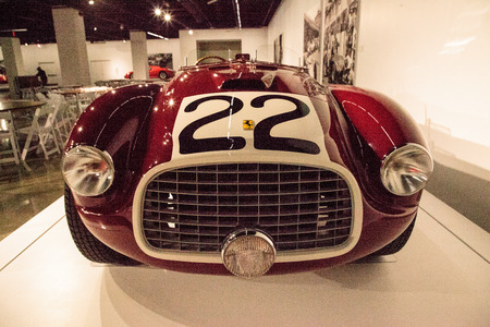 Los Angeles, CA, USA - July 23, 2017: Red 1949 Ferrari 166MM Barchetta displayed at the Petersen Automotive Museum. Editorial use.