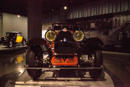 Los Angeles, CA, USA - July 23, 2017: Orange 1930 Bugatti Type 46 Cabriolet displayed at the Petersen Automotive Museum. Editorial use. Editorial
