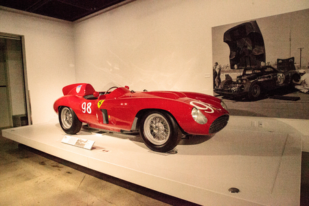 restored: Los Angeles, CA, USA - July 23, 2017: Red 1955 Ferrari 857 Sport displayed at the Petersen Automotive Museum. Editorial use.