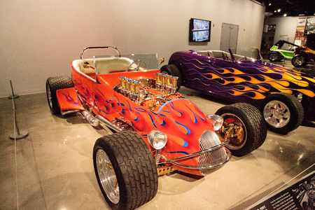 Los Angeles, CA, USA - July 23, 2017: Orange 1925 Ford Altered T Roadster called Golden Star displayed at the Petersen Automotive Museum. Editorial use. Editorial