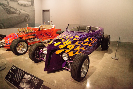 Los Angeles, CA, USA - July 23, 2017: Purple 1932 Ford Roadster called Passion displayed at the Petersen Automotive Museum. Editorial use.