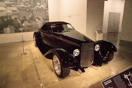 Los Angeles, CA, USA - July 23, 2017: Black 1932 Ford Roadster 0032 displayed at the Petersen Automotive Museum. Editorial use. Editorial
