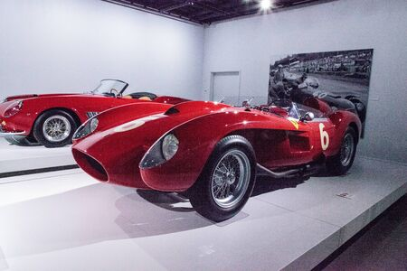 Los Angeles, CA, USA - July 23, 2017: Red 1958 Ferrari 250 TR Spyder displayed at the Petersen Automotive Museum. Editorial use.