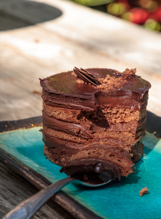 Creamy chocolate mousse layered cake with rich fudge icing