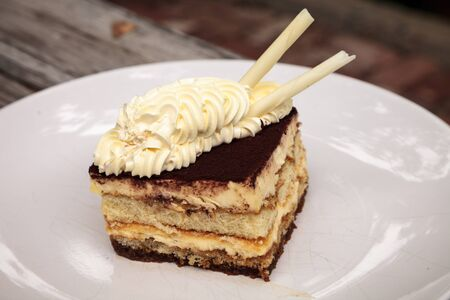 Creamy Italian tiramisu with a coffee flavored custard and ladyfingers layered with whipped eggs and mascarpone cheese infused with cocoa.