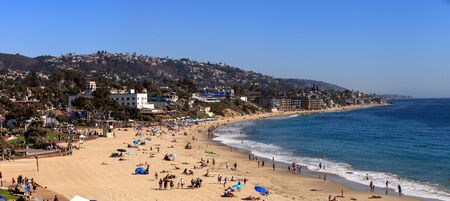 Main Beach and the ocean in Laguna Beach, California in fall.