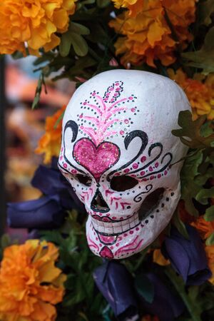 Flower and skeleton alter at Dia de los Muertos, Day of the dead. Stock Photo