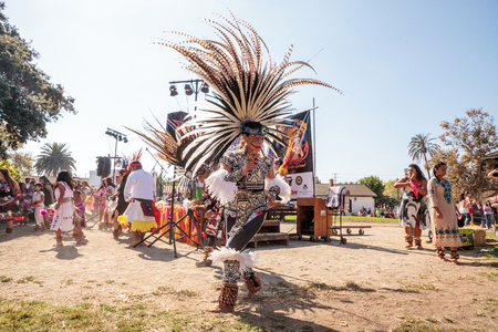 San Diego, CA, USA – November 28, 2017: Aztec dancers celebrate Dia de los Muertos Day of the Dead in Mission Valley and Old Town in San Diego, California