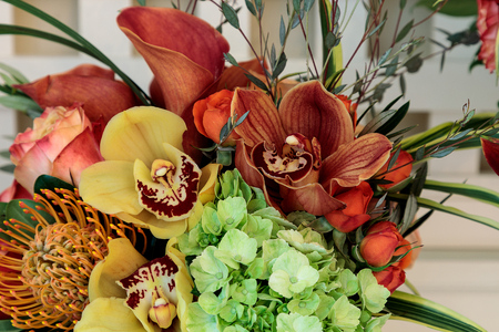Bouquet of flowers including roses, orchids, pincushion proteas and hydrangea flowers in bright colors including orange, green, yellow and pink Stock Photo