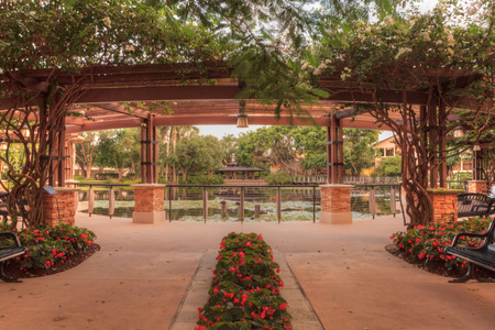 Entryway of the Garden of Hope and Courage memorial garden and sanctuary Stock Photo