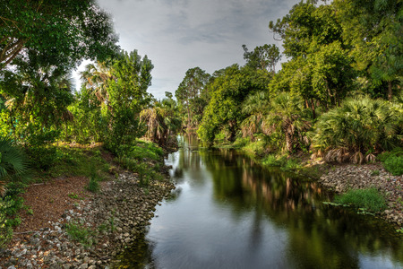 Winding riverway of the Gordon River tributary in Naples, Florida