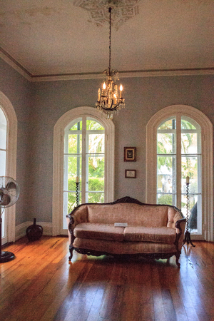Key West, Florida, USA - September 1, 2018: Couch a sitting room of Ernest Hemingway's House in Key West, Florida. For editorial use.